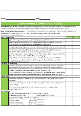Apprentice Competency Checklist