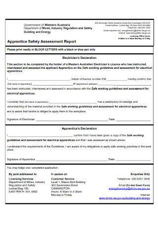 Apprentice Safety Assessment Report