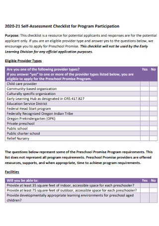 Assessment Checklist for Program Participation