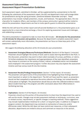 Assessment Presentation Report