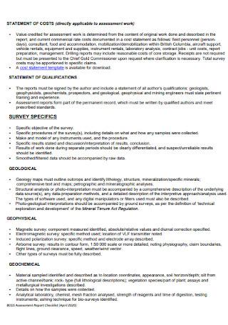 Assessment Report Checklist