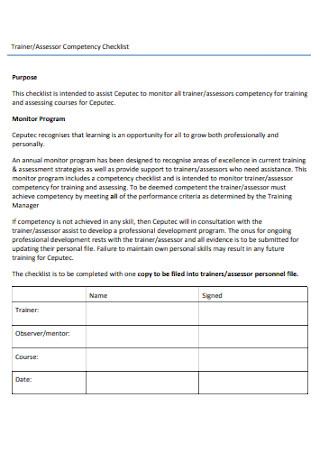 Assessor Competency Checklist