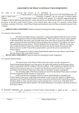 Assignement of Policy Contract