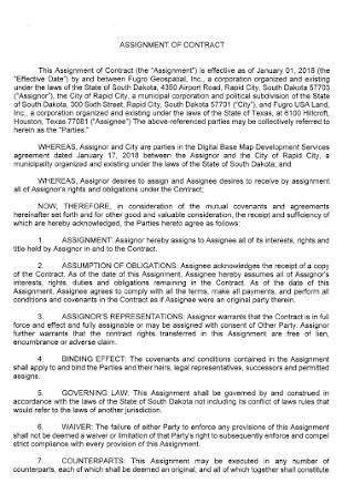 Assignent Agreement Format