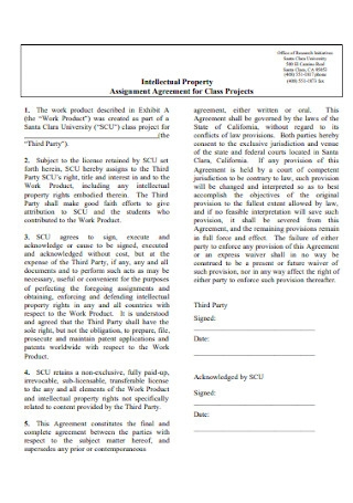 Assignment Agreement for Class Projects