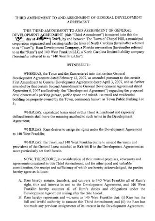 Assignment General Development Agreement