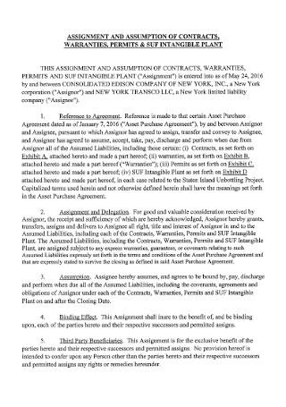 Assignment Warrenty Contract