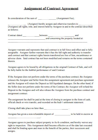 Assignment of Contract Agreement