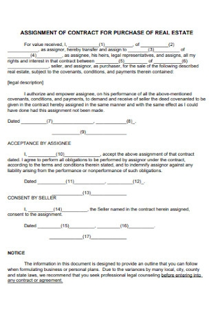 Assignment of Contract for Prchase of Real Estate