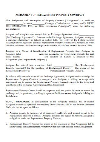 Assignment of Replacement Property Contract