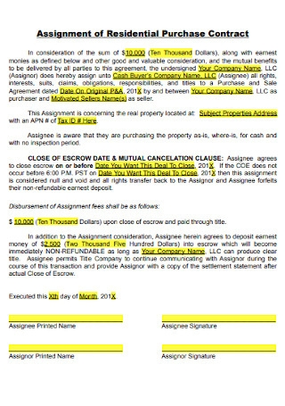 Assignment of Residential Purchase Contract