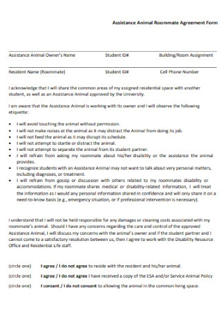 Assistance Animal Roommate Agreement