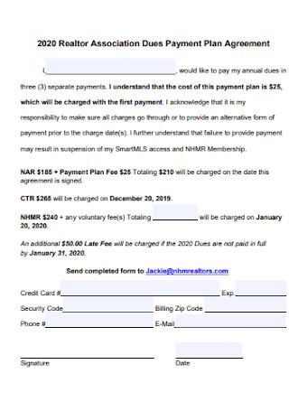 Association Dues Payment Plan Agreement