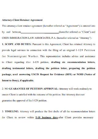 Attorney Client Retainer Agreement