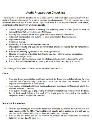 Audit Preparation Checklist