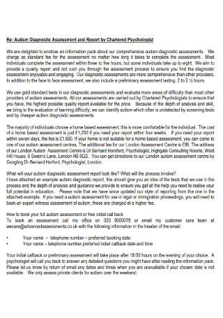 Autism Diagnositc Assessment Report