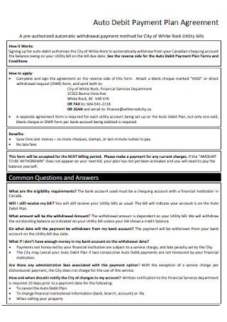 Auto Debit Payment Plan Agreement