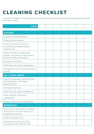 Basic Cleaning Checklist Template