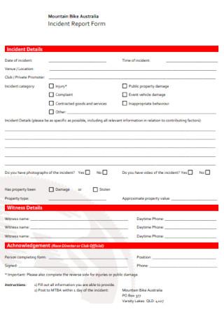 Bike Incident Report Form