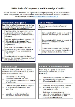 Body of Competency and Knowledge Checklist