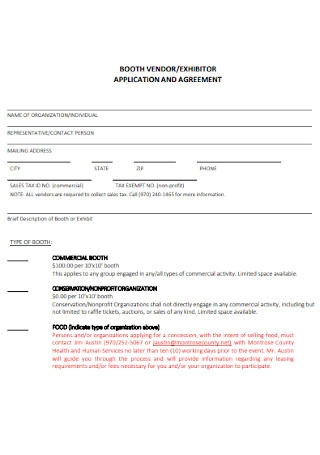 Booth Vendor Agreement