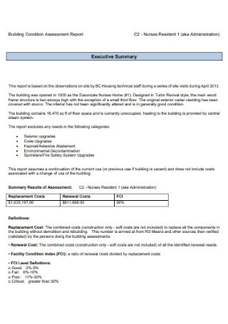 Building Condition Assessment Report