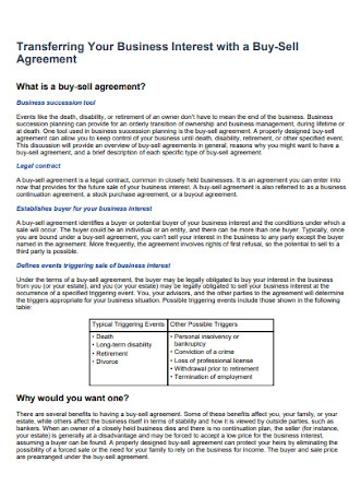 Business Buy Sell Agreement