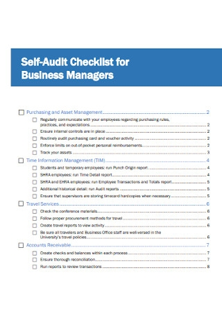 Business Manager Audit Checklist