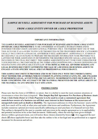 Buy Sell Agreement of Business Assest