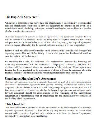 Buy Sell Shareholder Agreement