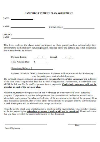 Camp Payment Plan Agreement