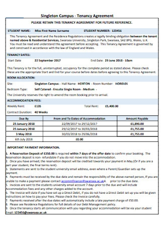 Campus Tenancy Agreement Template