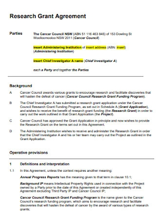 Cancer Research Grant Agreement