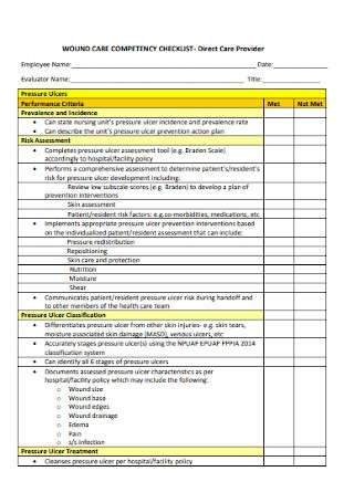Care Cometency Checklist