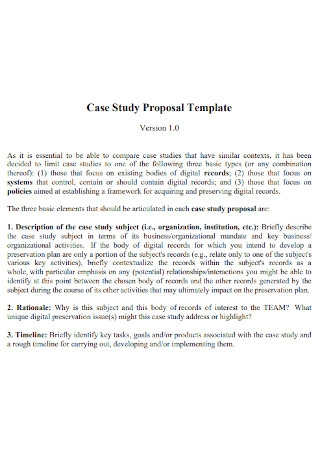 Case Study Proposal Template