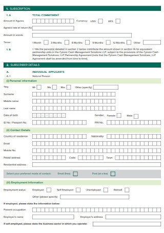 Cash Investment Agreement Template