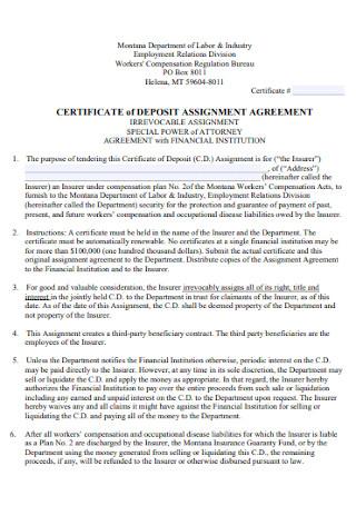 Certifcate of Deposit Assignment Agreement