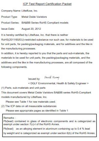 Certification Test Report