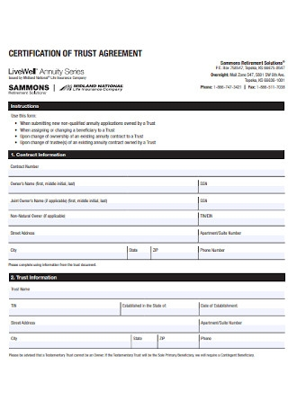Certification of Trust Agreement Template