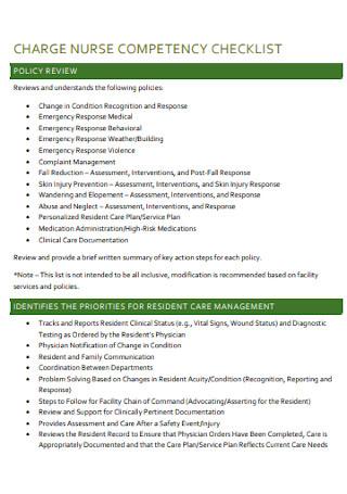 Charge Nurse Cometency Checklist