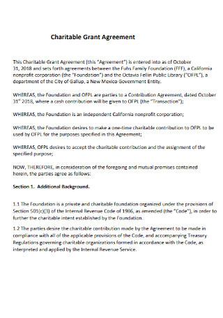 Charitable Grant Agreement