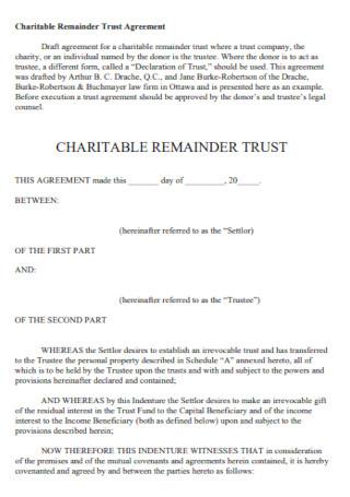 Charitable Remainder Trust Agreement