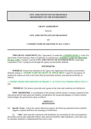 City Graant Agreement