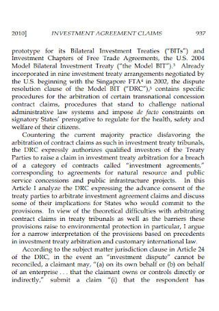 Claim Investment Agreement
