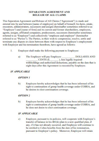 Claims Separation Agreement Template