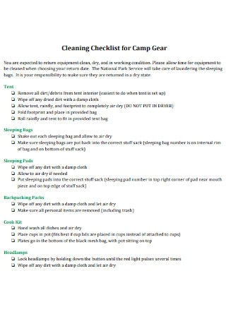 Cleaning Checklist for Camp Gear