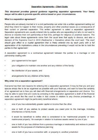 Client Separation Agreement