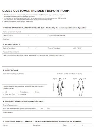 Club Customer Incident Report Form