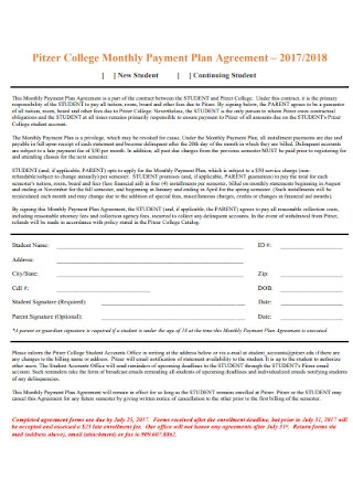 College Monthly Payment Plan Agreement