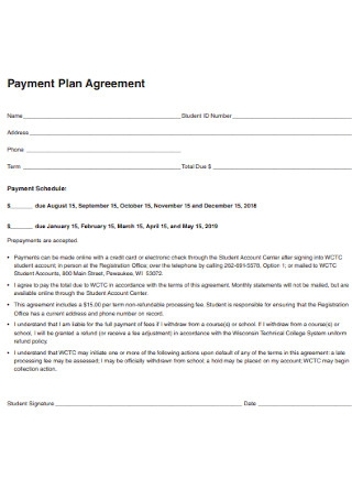 College Payment Plan Agreement